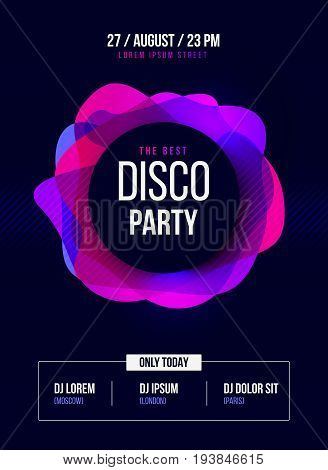 Party Flyer. Club music poster. DJ lineup design. Vector template