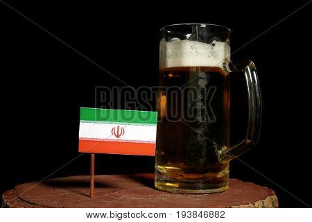 Iranian Flag With Beer Mug Isolated On Black Background