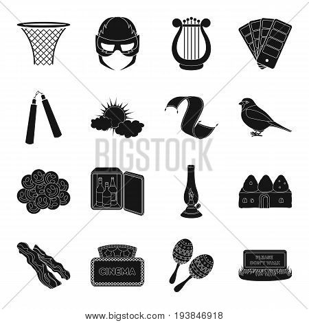 sports, food, theater, weather and other  icon in black style.cinematography, lighting icons in set collection.