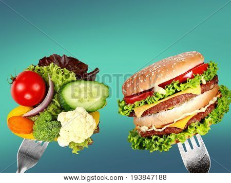 Healthy food fast harmful nobody closeup fresh