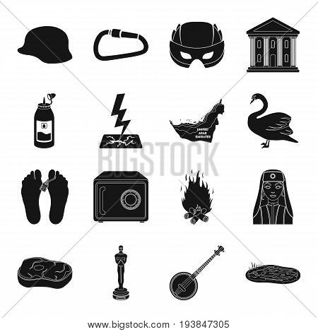 addiction, Turkey, weather and other  icon in black style. food, cinema, music icons in set collection.