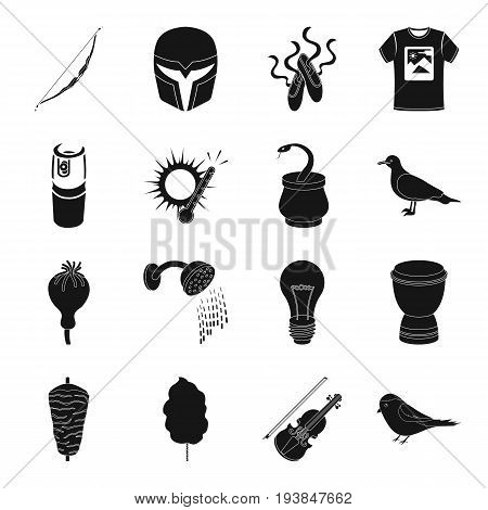 theater, weapons, printing, weather, Emirates and other  icon in black style.drug, addiction, lighting, food, Movies, music icons in set collection.