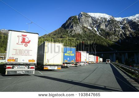 Trucks Parked At Rest Stop