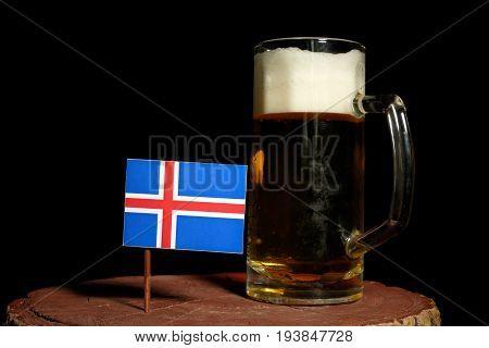 Icelandic Flag With Beer Mug Isolated On Black Background