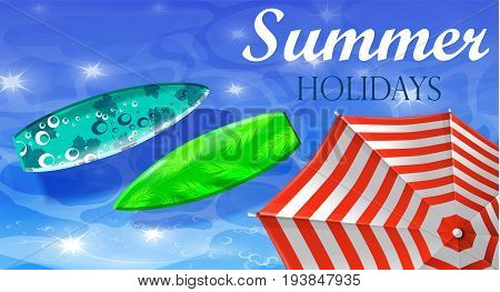 colorful umbrella floating surfing boards and water top view banner vector illustration