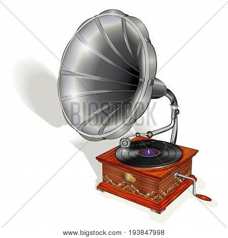 The old gramophone isolated on white background