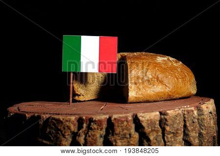 Italian Flag On A Stump With Bread Isolated