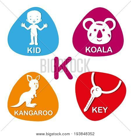 Cute alphabet in vector. K letter for kid, koala, kangaroo and key. Alphabet design in a colorful style