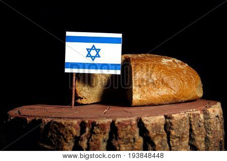Israeli Flag On A Stump With Bread Isolated