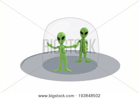 Little green aliens illustrated into grey spaceship on white.