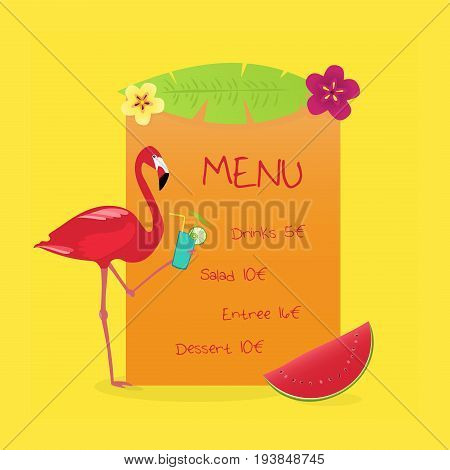 Menu Summertime. Flamingo with drink and watermelon in tropical colors.