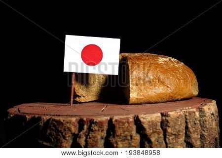 Japanese Flag On A Stump With Bread Isolated