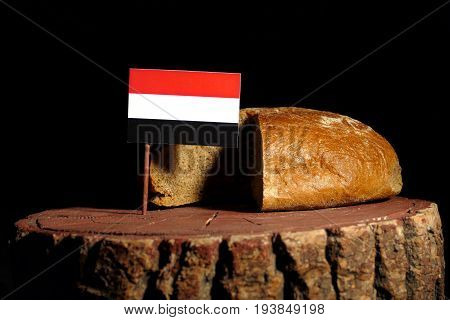 Yemeni Flag On A Stump With Bread Isolated