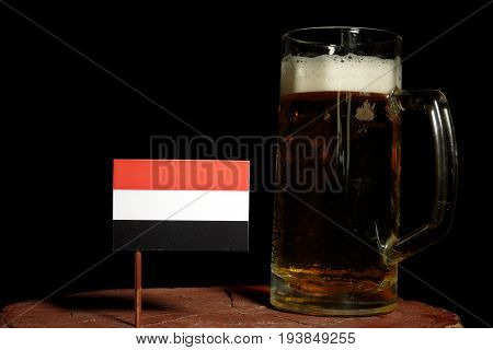 Yemeni Flag With Beer Mug Isolated On Black Background