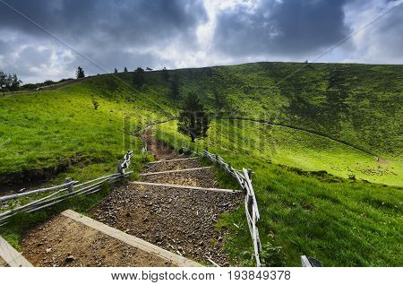 Footpath For Peak Of The Puy Pariou In Auvergne