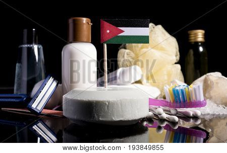 Jordanian Flag In The Soap With All The Products For The People Hygiene