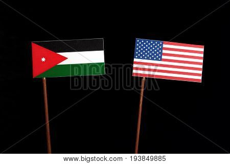 Jordanian Flag With Usa Flag Isolated On Black Background