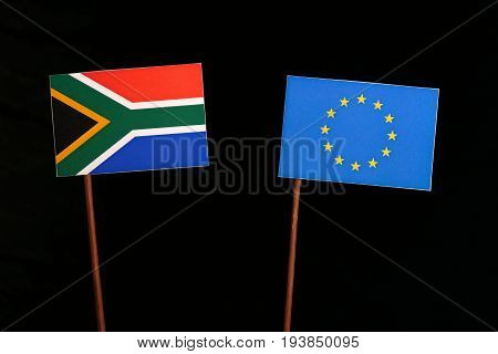 South African Flag With European Union (eu) Flag Isolated On Black Background