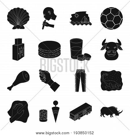 transportation, animal, parking and other  icon in black style.food, ranch, England, sport, medicine, art icons in set collection