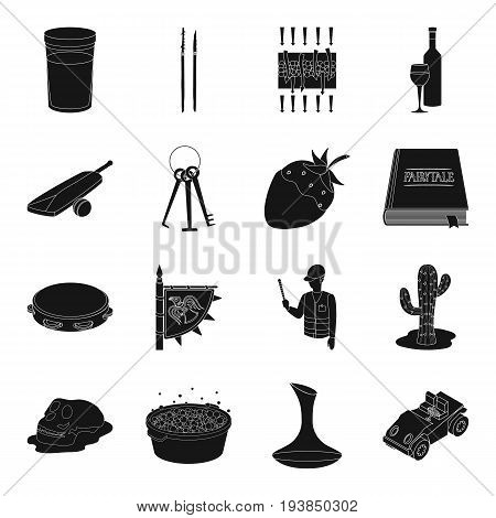 transport, Spain, wild, west and other  icon in black style.Desert, crime, alcohol, parking, tool icons in set collection.