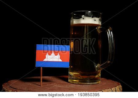 Cambodian Flag With Beer Mug Isolated On Black Background