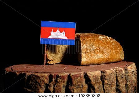 Cambodian Flag On A Stump With Bread Isolated