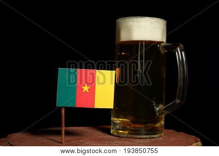 Cameroon Flag With Beer Mug Isolated On Black Background
