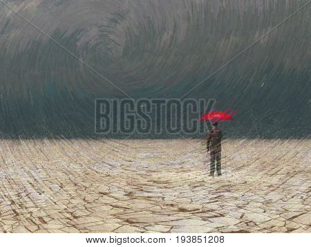 Surreal digital art. Man with red umbrella in dry land under gathering storm.   3D rendering