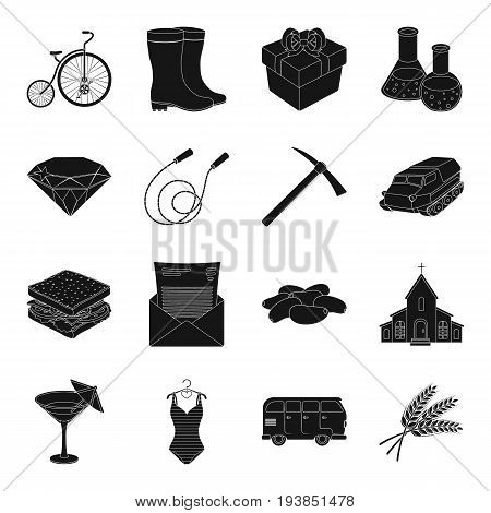 Party, cafe, jewelry, fitness and other  icon in black style.mining, ore, chemistry, footwear icons in set collection