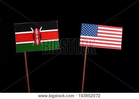 Kenyan Flag With Usa Flag Isolated On Black Background