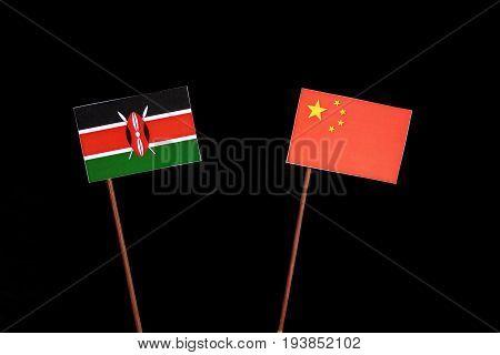 Kenyan Flag With Chinese Flag Isolated On Black Background