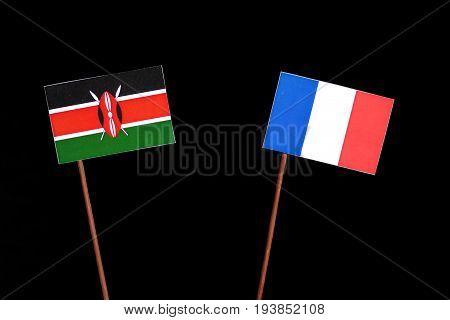 Kenyan Flag With French Flag Isolated On Black Background