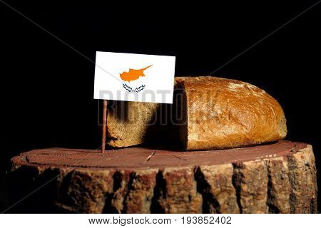 Cypriot Flag On A Stump With Bread Isolated