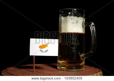 Cypriot Flag With Beer Mug Isolated On Black Background