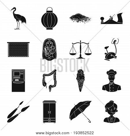 justice, finance, medicine and other  icon in black style.travel, profession, art icons in set collection.