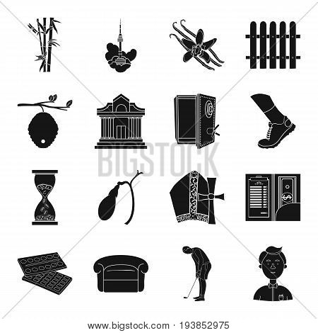 finance, travel, medicine and other  icon in black style.art, sport, service icons in set collection.