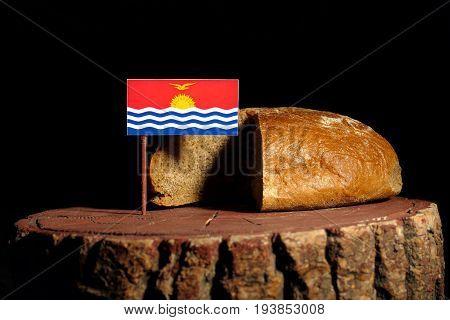 Kiribati Flag On A Stump With Bread Isolated