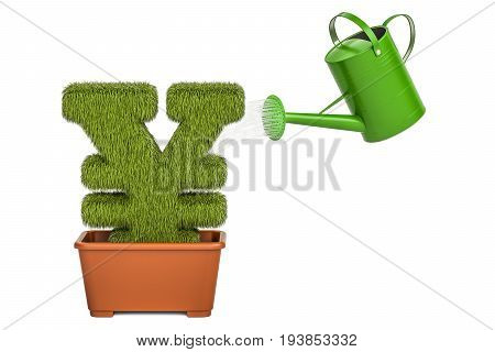Watering can water grassy yen or yuan symbol. Money plant concept 3D rendering