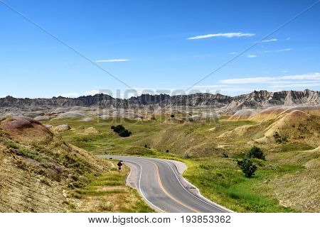 Road through the Yellow Mounds area of Badlands National Park, South Dakota.