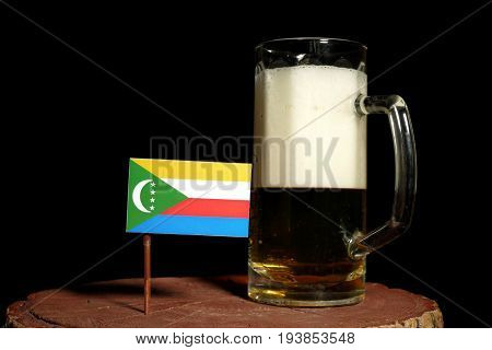 Comoros Flag With Beer Mug Isolated On Black Background