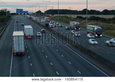Redbourn UK - July 2 2017: Evening traffic on the British motorway M1