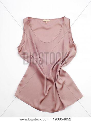 sleeveless, pink, blouse, isolated on white background