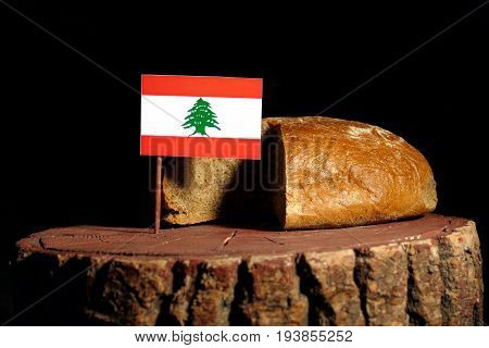 Lebanese Flag On A Stump With Bread Isolated