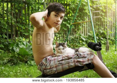 Boy Make Push Up Stomach Exercise Work Out With Cat