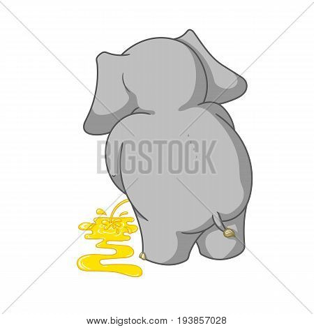 Big collection vector cartoon characters of elephants on an isolated background. Urinating