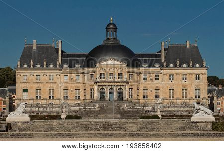 The Vaux-le-Vicomte is a Baroque French castle constructed from 1658 to 1661 for Nicolas Fouquet, the superintendant of Finances of Louis XIV.