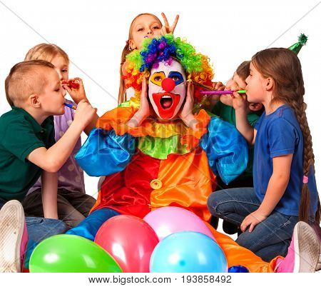 Birthday child clown playing with children. Kid cakes celebratory in hands of events organizer man. Fooling of group people celebrate party . Little ones pulling bunny fingers prank on man isolated.