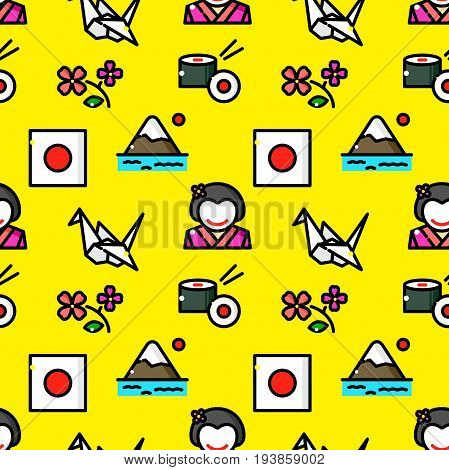 Japan seamless pattern with objects in line style, country vector illustration