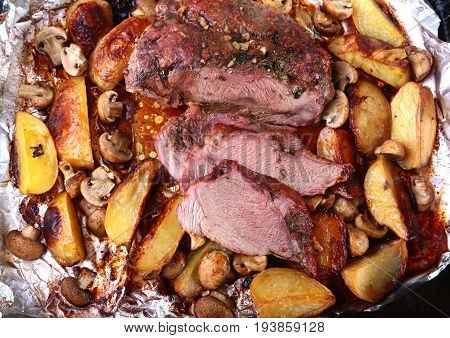 Grilled pork meat with potatoes. barbecue. Selective focus