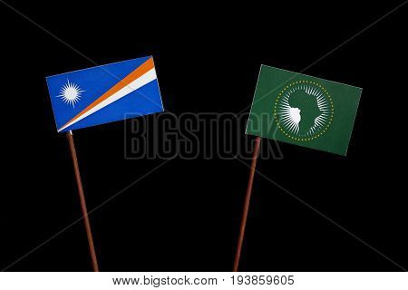 Marshall Islands Flag With African Union Flag Isolated On Black Background